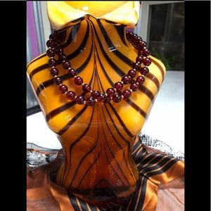 Vintage Crimson Bead Necklace